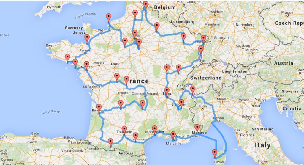 Маршрут путешествия по Франции на машине